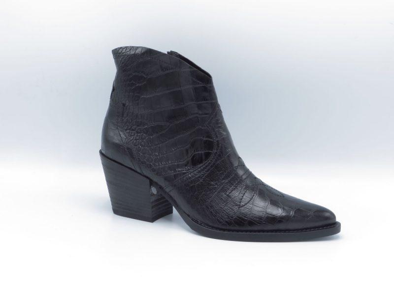 Paul Green 9666-037 zwart crocoprint hakhoogte 7cm